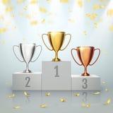 优胜者背景 在得奖的指挥台的战利品杯 也corel凹道例证向量 库存例证