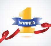 优胜者,第与红色丝带、橄榄树枝和五彩纸屑的一背景在白色 免版税库存照片