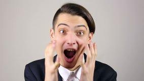 优胜者,年轻商人兴奋 股票录像