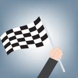 优胜者结束旗子在商人手,成就成功概念,在平的设计的例证传染媒介上 库存照片