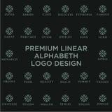 优质线性盾组合图案字母表略写法 典雅的冠叶子邮票象传染媒介商标 豪华字母表框架标志 库存例证