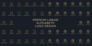 优质线性盾组合图案字母表略写法 典雅的冠叶子邮票象传染媒介商标 豪华字母表框架标志 向量例证