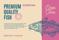 优质质量鳕 抽象传染媒介鱼成套设计或标签 现代印刷术和手拉的鳕 库存例证