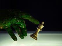 优越人工智能喝酒的棋概念 免版税库存图片