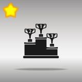 优质优胜者黑象按钮商标标志的概念 库存照片