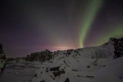 优质冬天的极光 免版税图库摄影