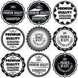 优质和优质和保证标签的汇集设计 免版税库存图片