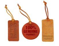 优质和真正质量皮革销售标记集合 免版税库存图片