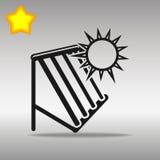 优质黑太阳热水系统象按钮商标标志的概念 免版税图库摄影