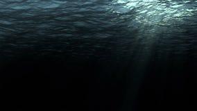 优质完全无缝的深黑暗的海浪的圈数字式动画从水下的背景的 股票录像
