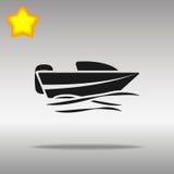 优质黑小船快速汽艇象按钮商标标志的概念 免版税库存照片