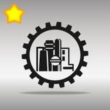 优质黑工厂象按钮商标标志的概念 免版税库存图片
