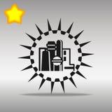 优质黑工厂象按钮商标标志的概念 免版税图库摄影