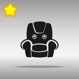 优质黑扶手椅子象按钮商标标志的概念 图库摄影