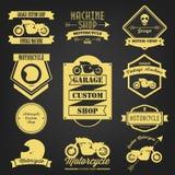 优质摩托车葡萄酒标签 免版税库存照片