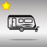 黑优质旅行野营的拖车汽车象按钮商标标志的概念 免版税库存照片