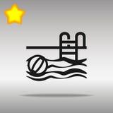 优质黑游泳池象按钮商标标志的概念 免版税库存图片