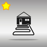优质黑热泵象按钮商标标志的概念 免版税库存照片