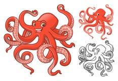 优质章鱼漫画人物包括平的设计和线艺术版本 库存图片