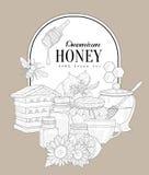 优质蜂蜜葡萄酒剪影 免版税库存图片