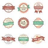 优质质量葡萄酒标签和徽章的汇集 免版税图库摄影
