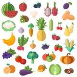 优质质量水果和蔬菜的大收藏在一个平的样式 库存图片