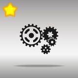 优质黑钝齿轮象按钮商标标志的概念 免版税库存照片