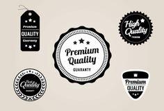 优质质量&保证标签和徽章-减速火箭的样式设计 库存图片