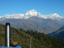 伙伴en el mirador de los Annapurnas 库存图片