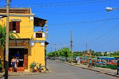 会安市古镇河沿,越南联合国科教文组织世界遗产名录 免版税库存照片