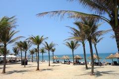 会安市,岘港市,越南- 2018年3月16日:享用在轰隆海滩的游人太阳与椰子树,秸杆伞线  免版税库存照片