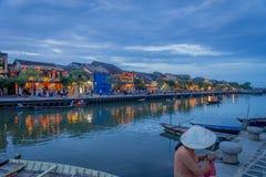 会安市,港口在晚上 免版税库存图片