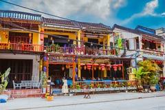 会安市,越南- 2017年3月17日:在会安市越南联合国科教文组织世界遗产名录站点老镇的看法  免版税库存照片
