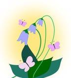 会开蓝色钟形花的草和蝴蝶 库存图片