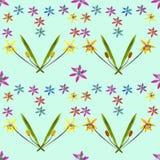 会开蓝色钟形花的草, scilla,报春花 花无缝的样式纹理  免版税库存图片