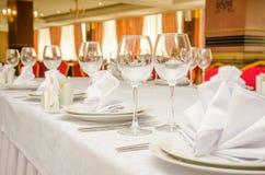 宴会桌在餐馆 图库摄影