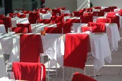 宴会白色和红颜色霍尔  库存照片