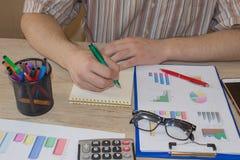 会计和企业概念 工作在办公桌上的商人 家财务,投资,经济,保存的金钱 免版税库存照片