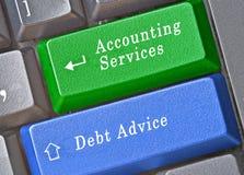 会计服务和债务忠告 库存照片