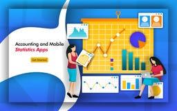 会计簿记的需要统计 会计师事务所有处理流动统计的应用程序从公司的数据 分析i 向量例证