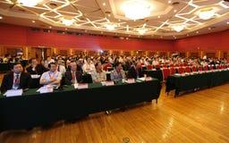 会议全球月球 免版税库存照片