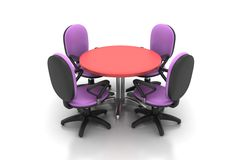 会议圆桌和办公室椅子在会议室 免版税库存照片