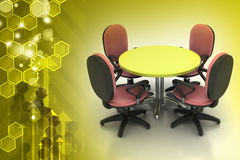 会议圆桌和办公室椅子在会议室 库存照片
