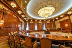 会议室在齐奥塞斯库宫殿 库存图片
