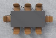 会议室的顶视图 一张深灰长方形桌和八个棕色皮椅 3d内部 向量例证