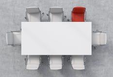 会议室的顶视图 一张白色长方形桌和八把椅子,他们中的一个是红色的 办公室内部 3D renderin 库存照片