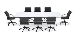会议桌和八把黑办公室椅子 免版税图库摄影