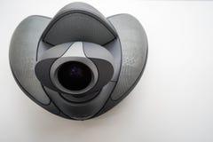 会议电话顶视图有照相机的在桌上在办公室 库存图片