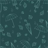 伞、叶子和雨下落无缝的样式在单色颜色 库存例证