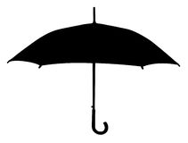 伞剪影 库存例证